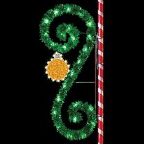 8' Garland Classic Scroll with Ornament, LED