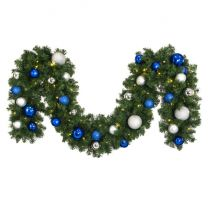 """Decorated 9' x 14"""" Garland Lit, Blue and Silver"""