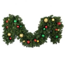"""Decorated 9' x 18"""" Garland Unlit, Colors of the Holiday"""