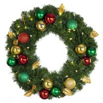 """24"""" Lit LED Warm White Decorated Wreath - Traditional Décor - Bow Option Available"""