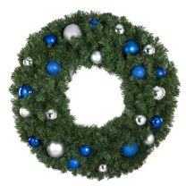 """36"""" Lit LED Warm White Decorated Wreath - Blue and Silver Décor - Bow Option Available"""