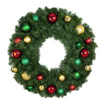 """36"""" Lit LED Warm White Decorated Wreath - Colors of the Holidays - Bow Option Available"""