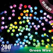 """Twinkly Pro - RGBW Capsule - 200 Lights - 4"""" Spacing - Green Wire - Dual Line"""