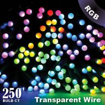 """Twinkly Pro - RGB Capsule - 250 Lights - 4"""" Spacing - Transparent Wire - Dual Line"""