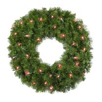 """24"""" Deluxe Oregon Fir Wreath, Lit Red, Bow Option Available"""