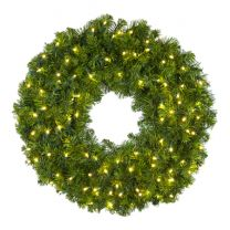 """30"""" Lit Warm White Deluxe Oregon Fir Wreath - Bow Option Available"""