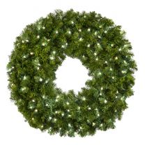 """36"""" Lit Pure White Deluxe Oregon Fir Wreath - Bow Option Available"""