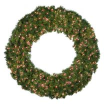 """60"""" Lit Red Deluxe Oregon Fir Wreath - Bow Option Available"""