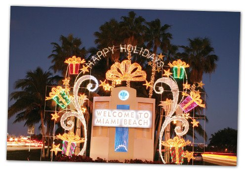 Welcome to Miami Beach Happy Holidays Decoration